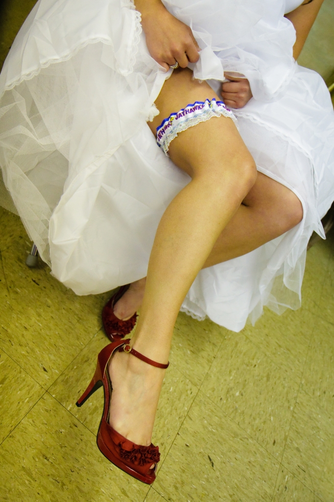 Bride in dressing room at Our Lady Of Sorrows